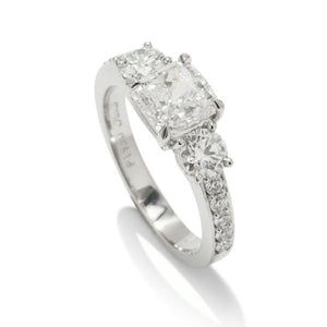 Cushion Three Stone Engagement Ring - Charles Koll Jewellers