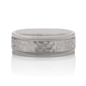 Hammered Men's Band With Milgrain - Charles Koll Jewellers