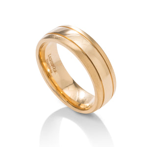 Domed With Accent Grooves Men's Band - Charles Koll Jewellers