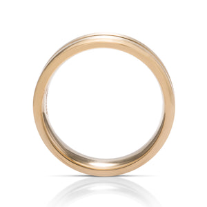 Beveled With Accent Groove Men's Band - Charles Koll Jewellers