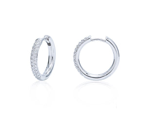 Pave Diamond Small Hoop Earrings - Charles Koll Jewellers