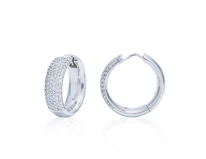 Pave Set Small Diamond Hoops - Charles Koll Jewellers