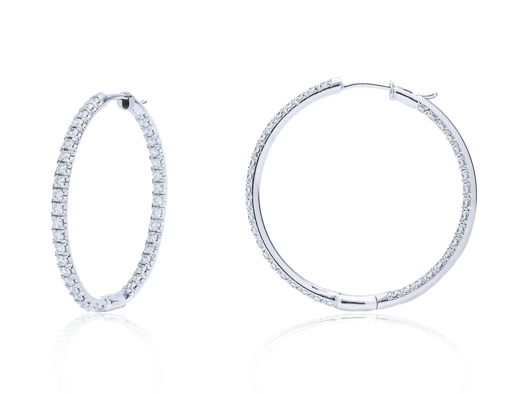 Inside Outside Medium Hoop White Gold Earrings - Charles Koll Jewellers