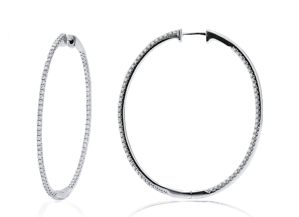 Large Oval Inside/Outside White Gold Hoops