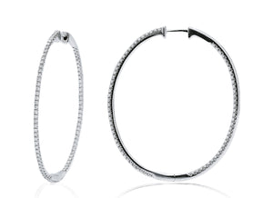 Large Oval Inside/Outside White Gold Hoops - Charles Koll Jewellers