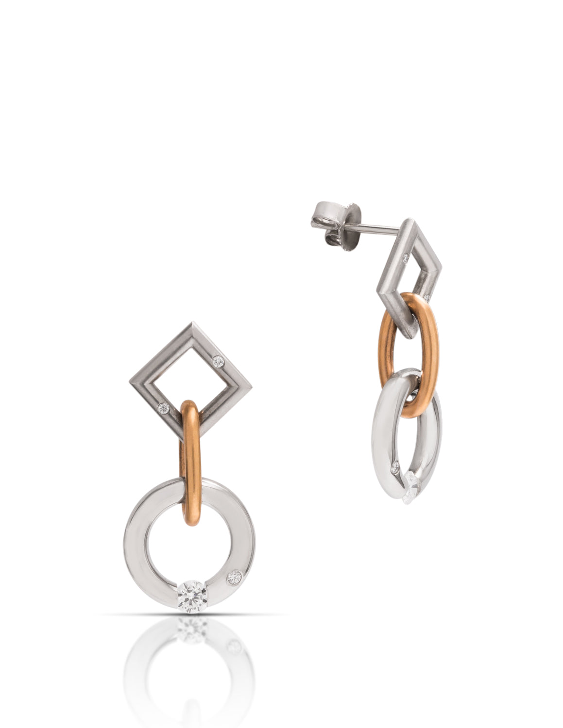 Platinum & 18k Rose Gold Diamond Short Jazz Earrings - Charles Koll Jewellers
