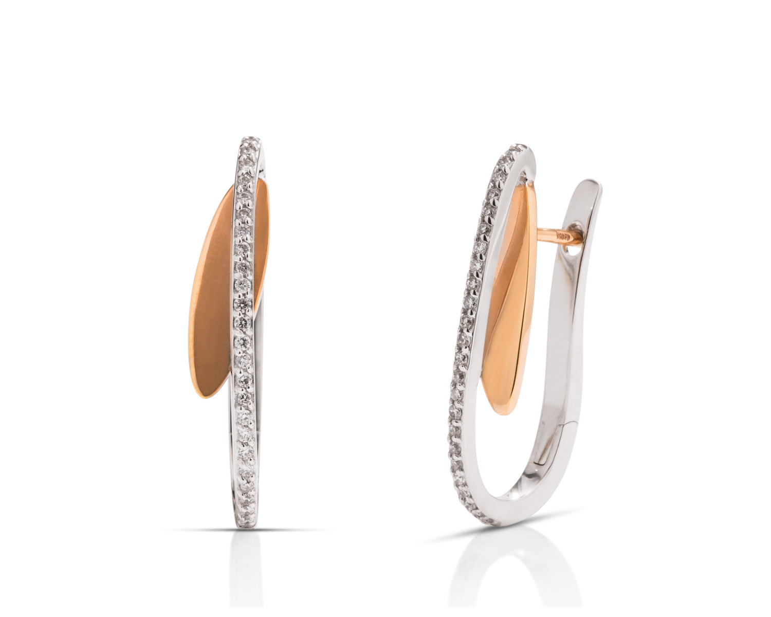 18k White & Rose Gold Diamond Earrings - Charles Koll Jewellers