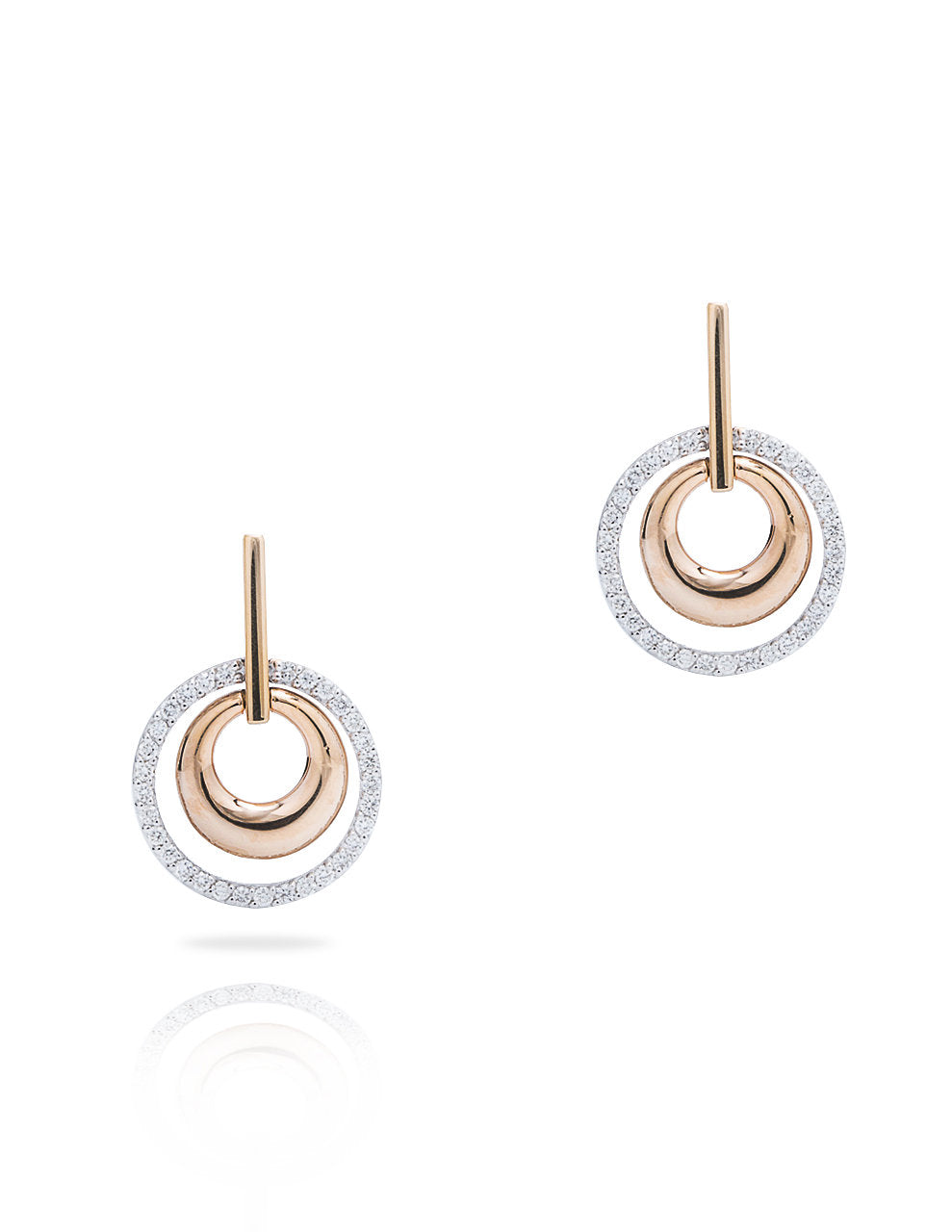 Double Circle Two-Tone Diamond Accent Earrings - Charles Koll Jewellers
