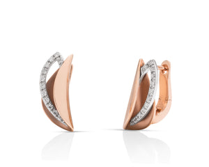18k Rose & White Gold Diamond Earrings - Charles Koll Jewellers