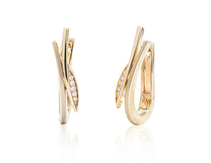 Yellow Gold Diamond Accent Leaf Earrings - Charles Koll Jewellers