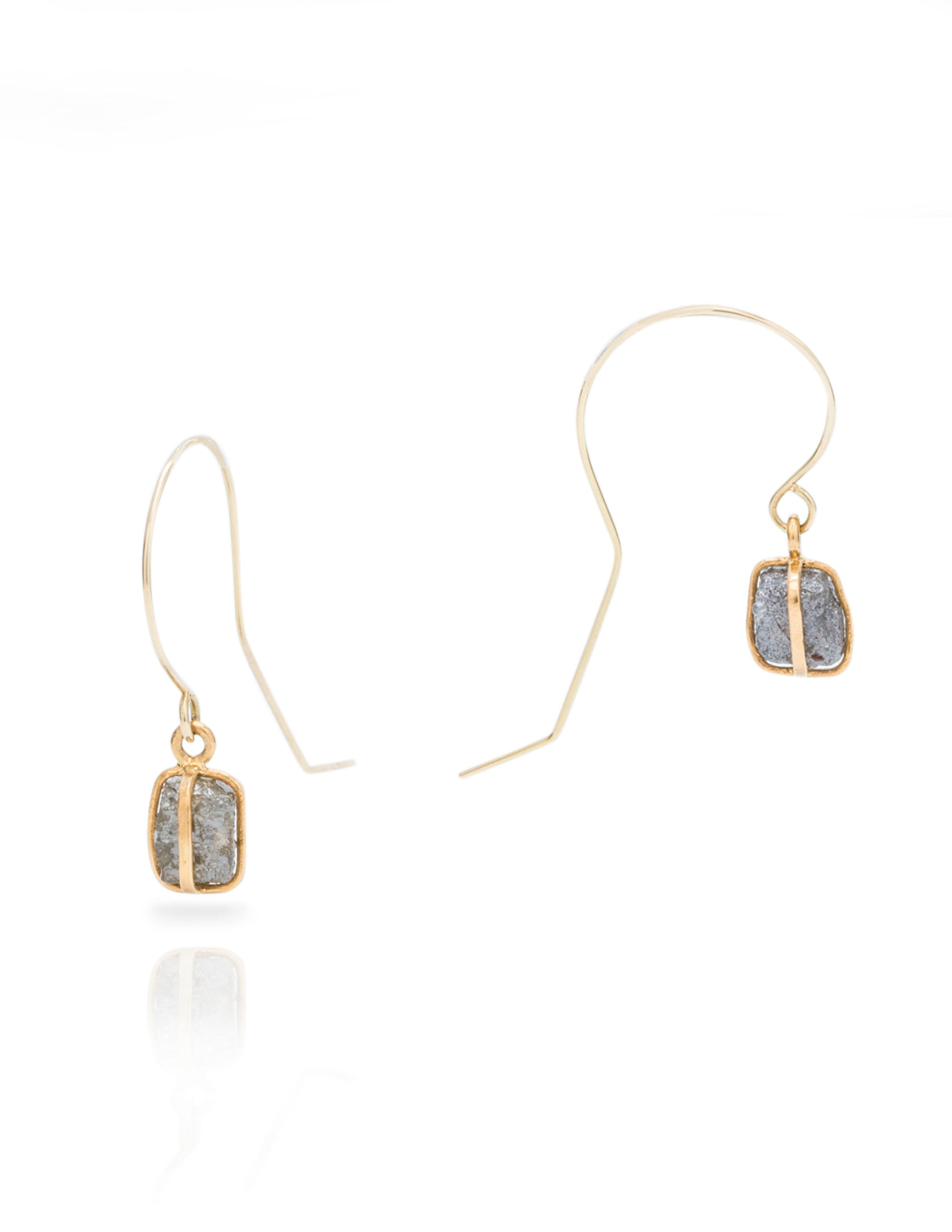 Rustic Diamond Drop Earrings - Charles Koll Jewellers