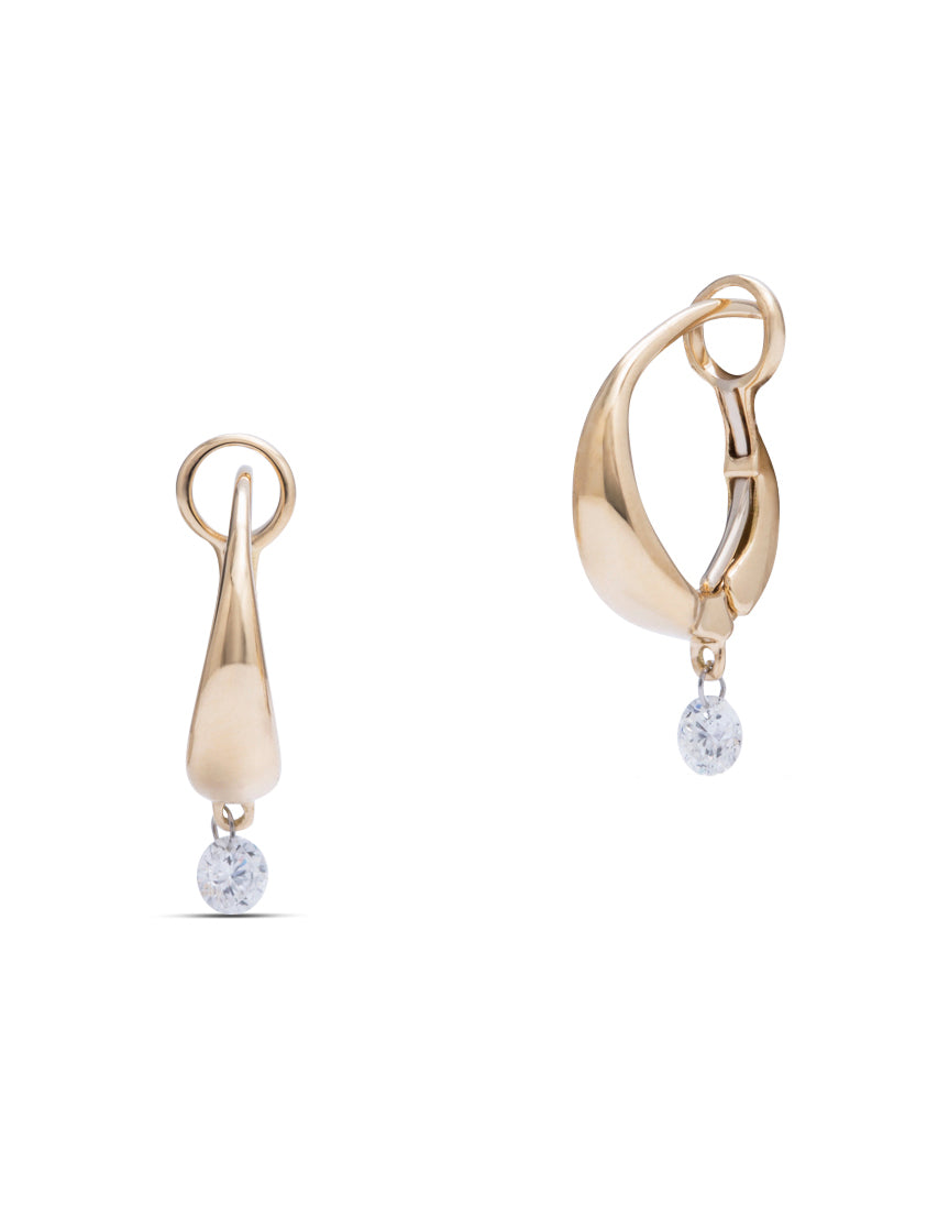 Yellow Gold Earrings with Dancing Diamond - Charles Koll Jewellers