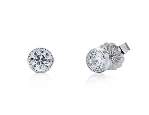 Milgrain Bezel Set Diamond Stud Earrings - Charles Koll Jewellers