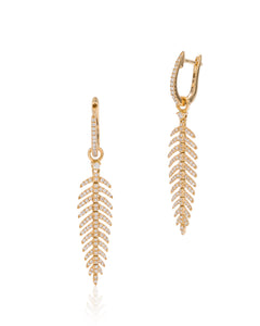 Diamond Feather Drop Earrings - Charles Koll Jewellers