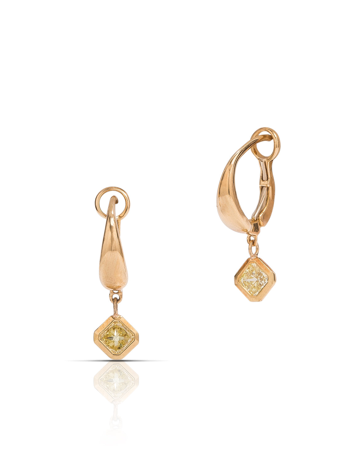 Fancy Yellow Radiant Cut Drop Earrings - Charles Koll Jewellers