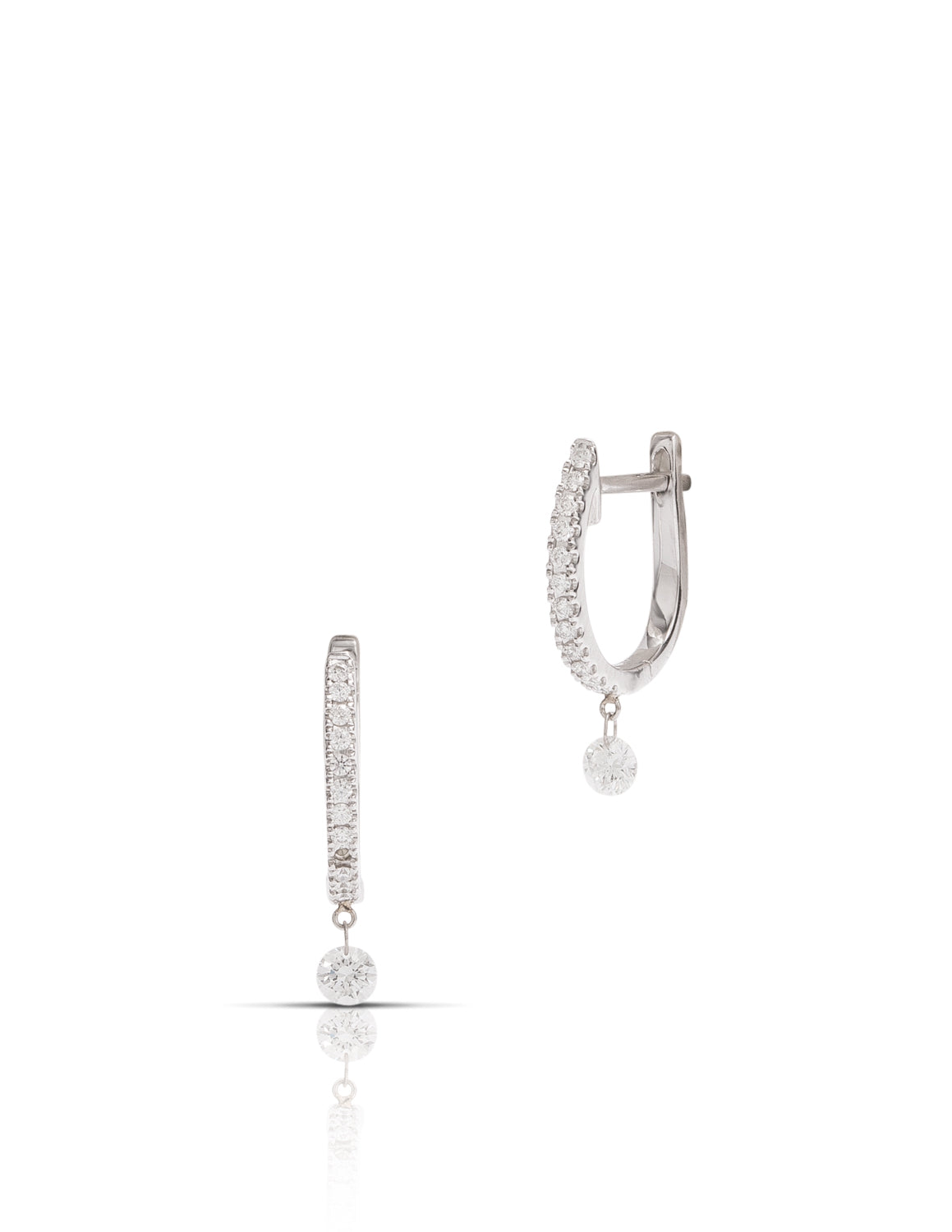 Dancing Diamond Earrings in White Gold - Charles Koll Jewellers