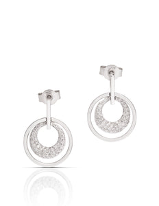 Double Circle Pave Earring - Charles Koll Jewellers