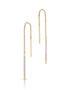 Thread Through Yellow Gold and Diamond Earrings - Charles Koll Jewellers