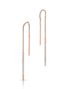Thread Through Rose Gold and Diamond Earrings - Charles Koll Jewellers