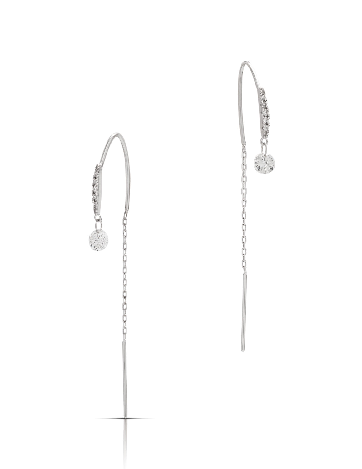 Diamond and White Gold Thread Through Earrings - Charles Koll Jewellers