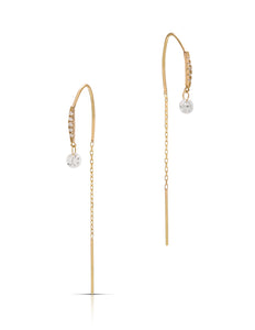 Yellow Gold and Diamond Thread Through Earrings - Charles Koll Jewellers