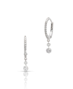 Dangle Dancing Diamond Hoops - Charles Koll Jewellers