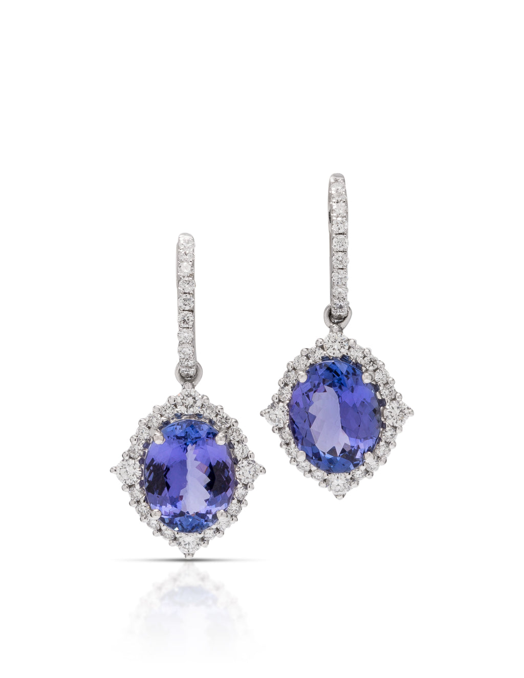 Tanzanite and Diamond Dangle Earrings - Charles Koll Jewellers