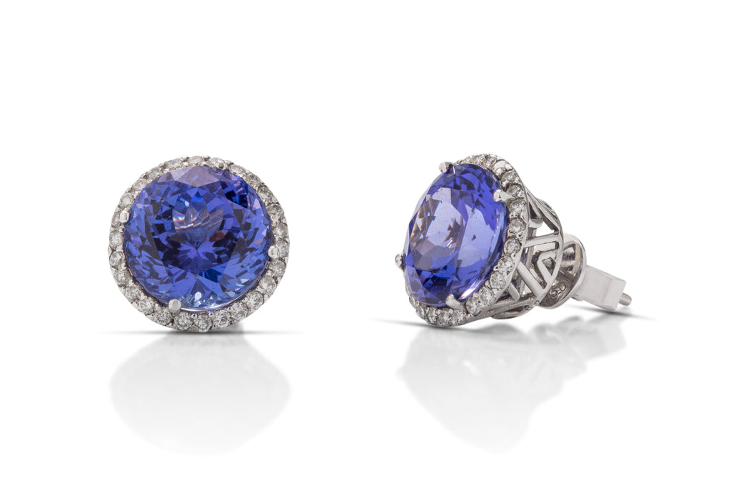 Tanzanite and Diamond Stud Earrings - Charles Koll Jewellers