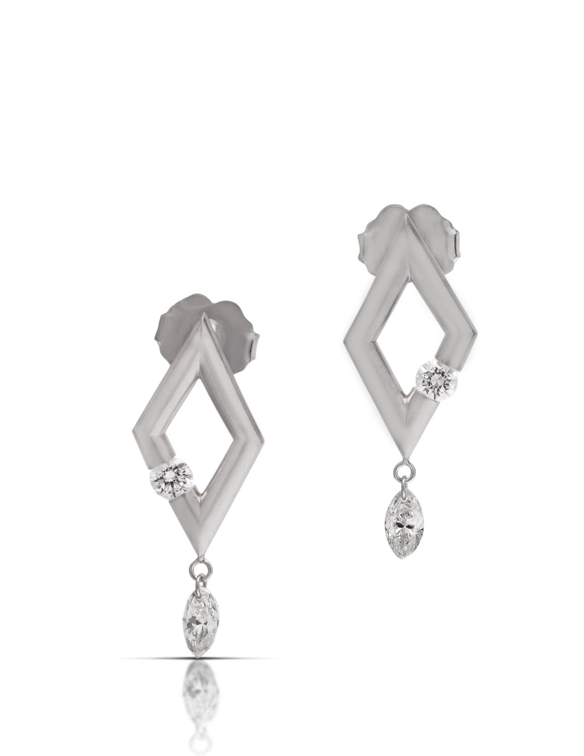 Diamond Shaped Platinum Earrings with Dancing Diamonds - Charles Koll Jewellers