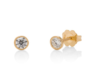 Yellow Gold Milgrain Bezel Diamond Studs - Charles Koll Jewellers