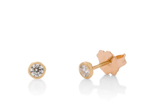 Yellow Gold Milgrain Bezel Diamond Studs