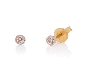 Rose Gold Milgrain Bezel Diamond Studs - Charles Koll Jewellers