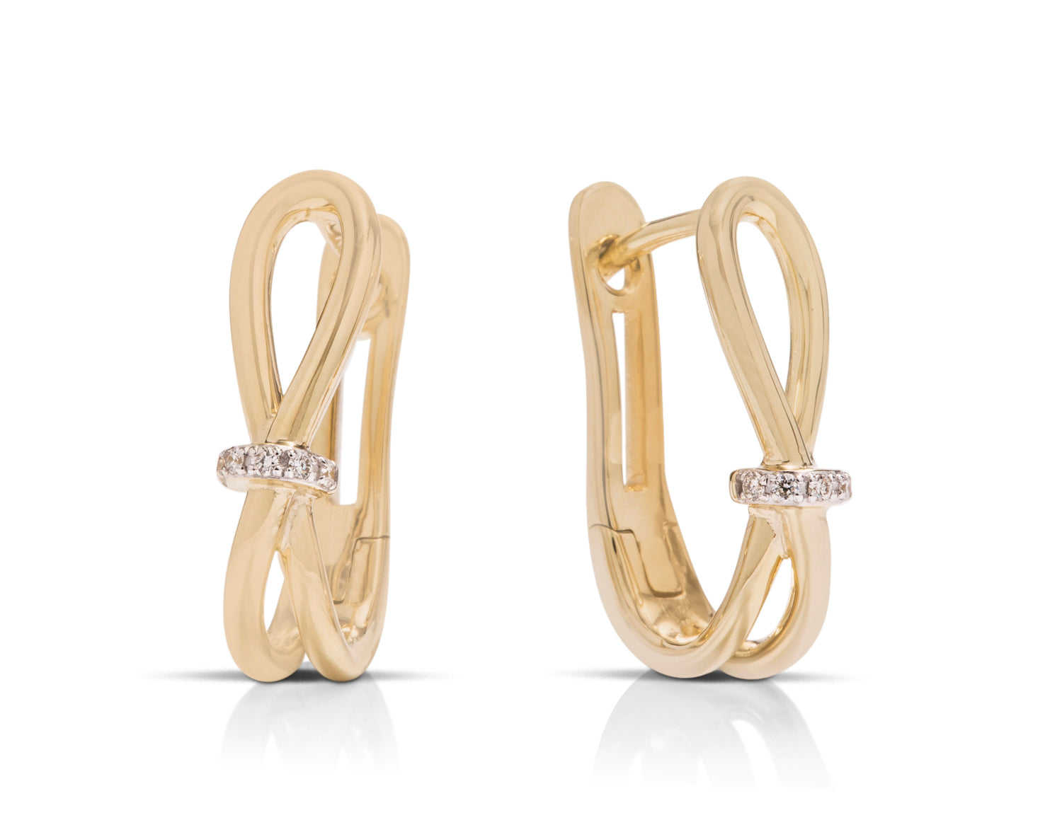 Yellow Gold and Diamond Crossover Hoops