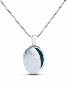 White Gold Flower Locket Pendant - Charles Koll Jewellers
