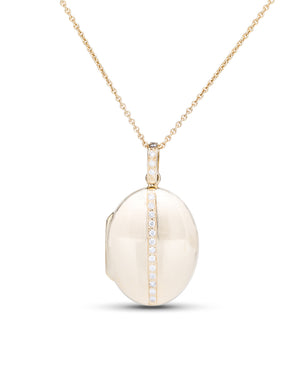 Yellow Gold Diamond Accent Locket - Charles Koll Jewellers