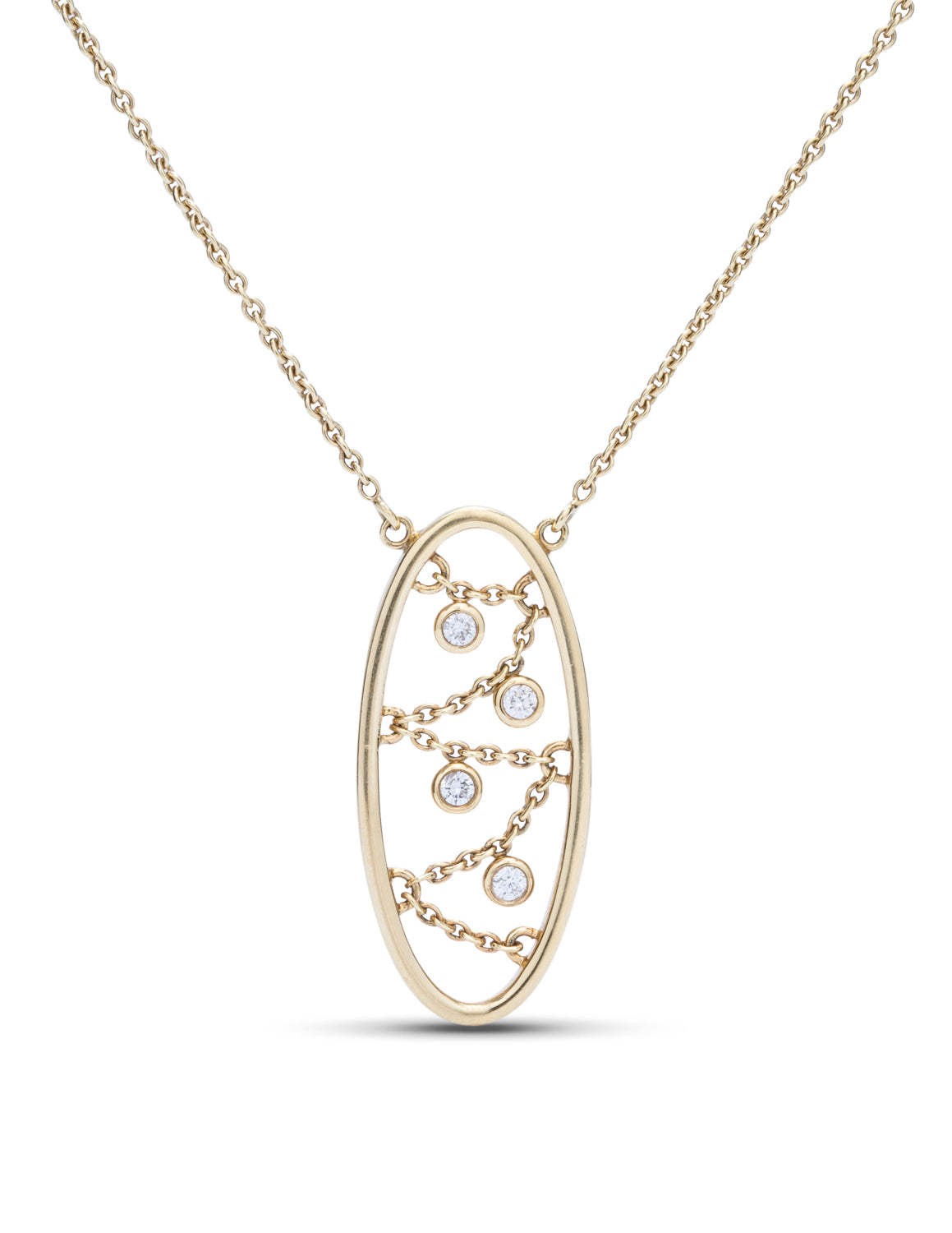 Oval Diamond Chain Pendant - Charles Koll Jewellers