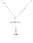 Double White Gold and Diamond Cross Pendant - Charles Koll Jewellers