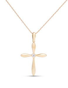 Reversible Diamond and Sapphire Yellow Gold Cross Pendant - Charles Koll Jewellers