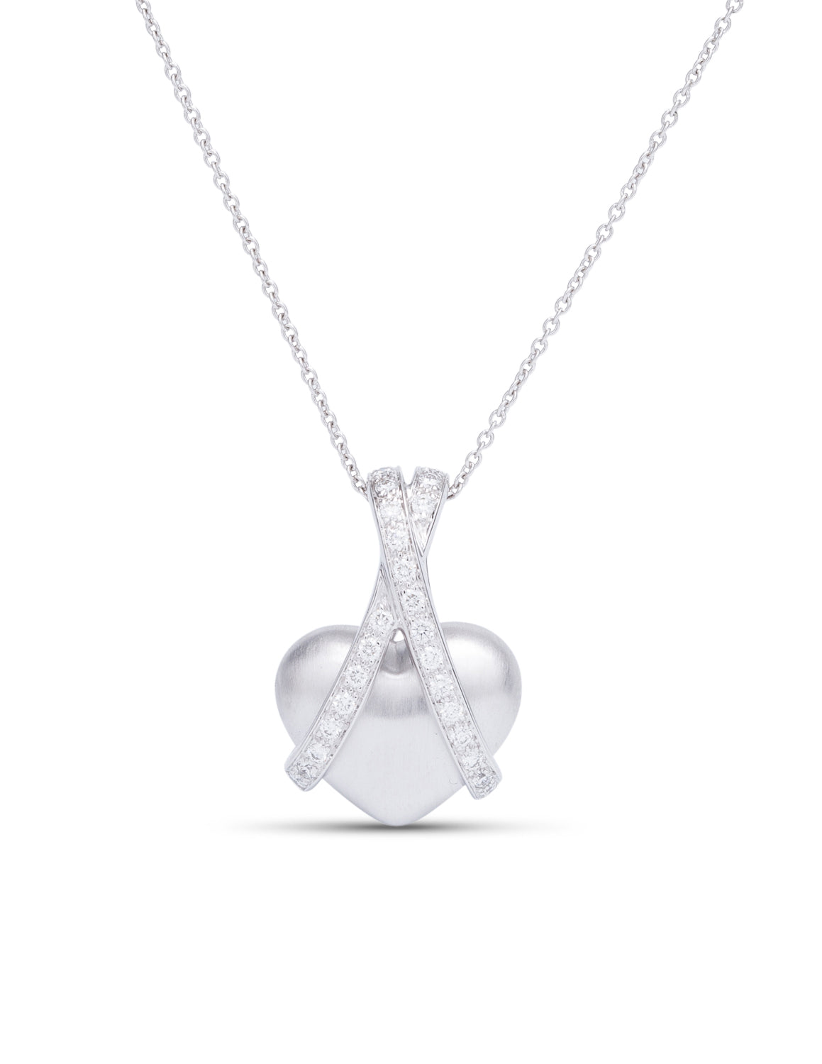 White Gold and Diamond Heart Pendant - Charles Koll Jewellers