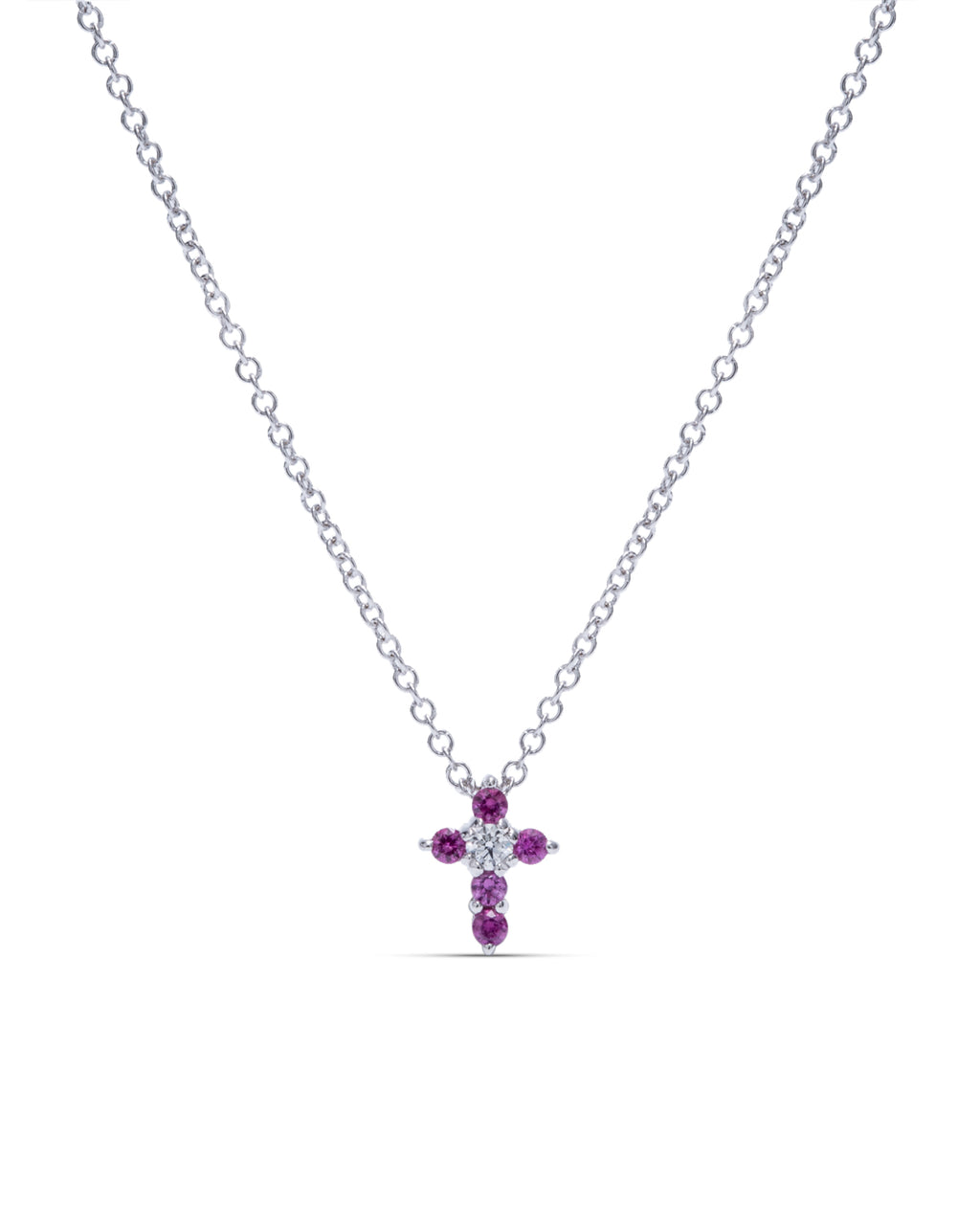 Ruby and Diamond Mini Cross Pendant - Charles Koll Jewellers