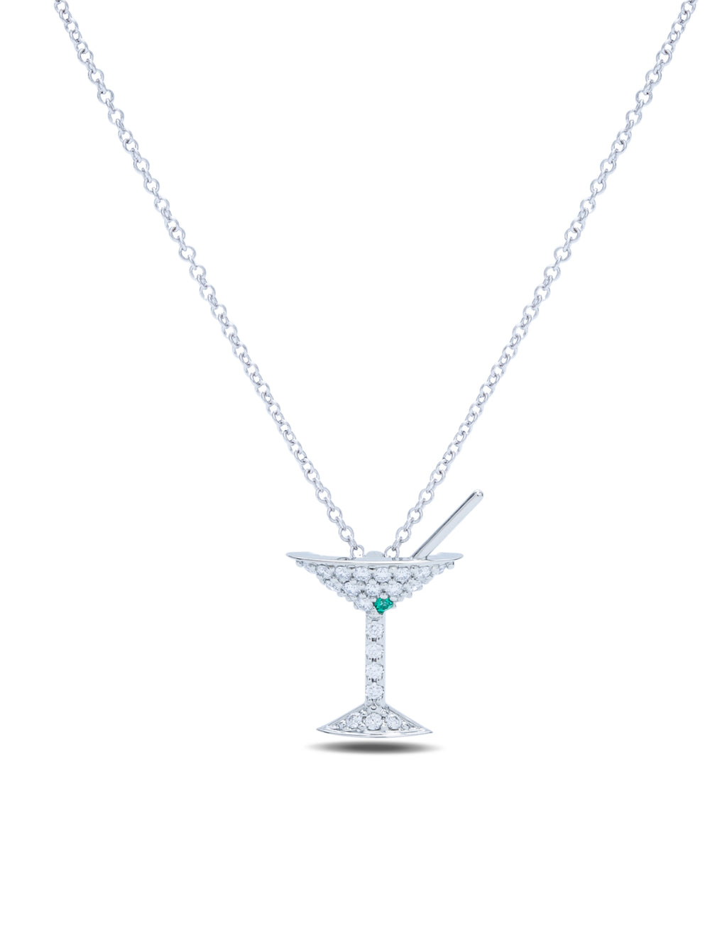 Diamond and Emerald Martini Pendant - Charles Koll Jewellers