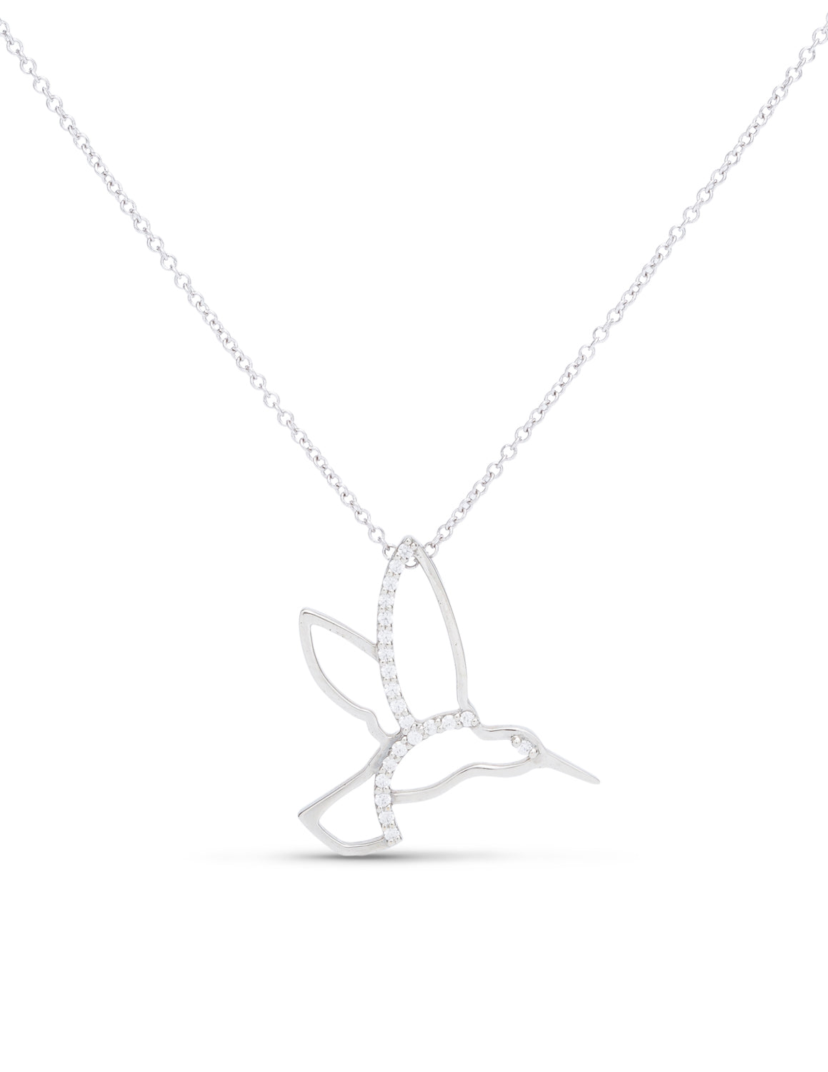 White Gold and Diamond Hummingbird Pendant - Charles Koll Jewellers