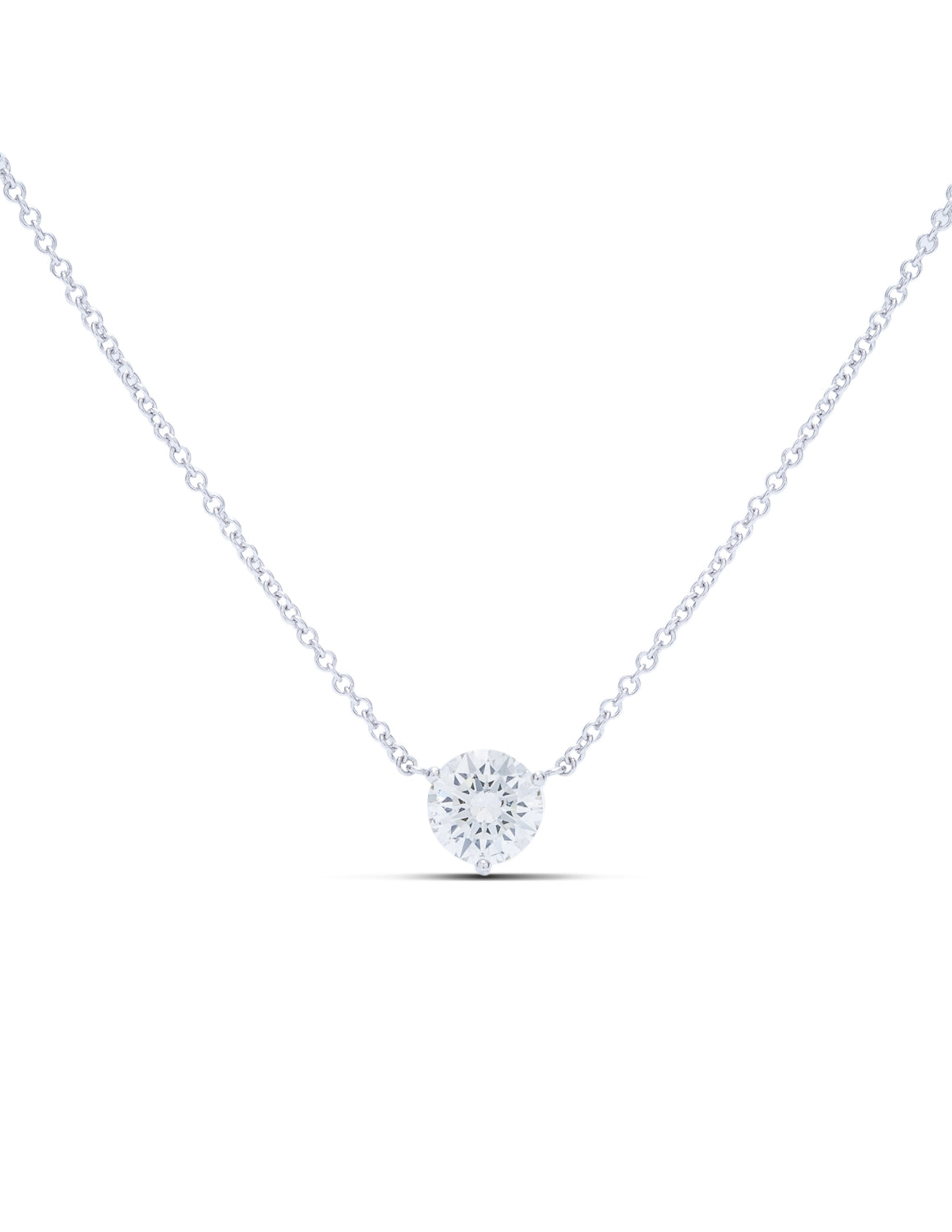 Diamond Solitaire Martini Prong Pendant - Charles Koll Jewellers