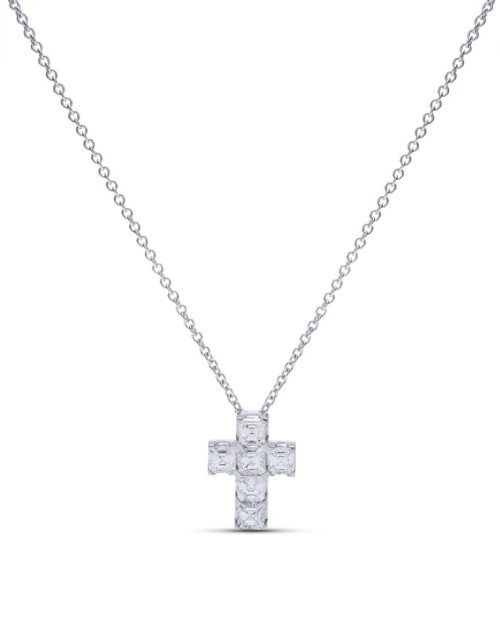 Platinum Diamond Cross Pendant - Charles Koll Jewellers