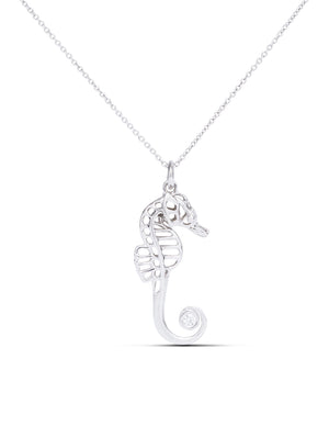 White Gold Seahorse Pendant - Charles Koll Jewellers