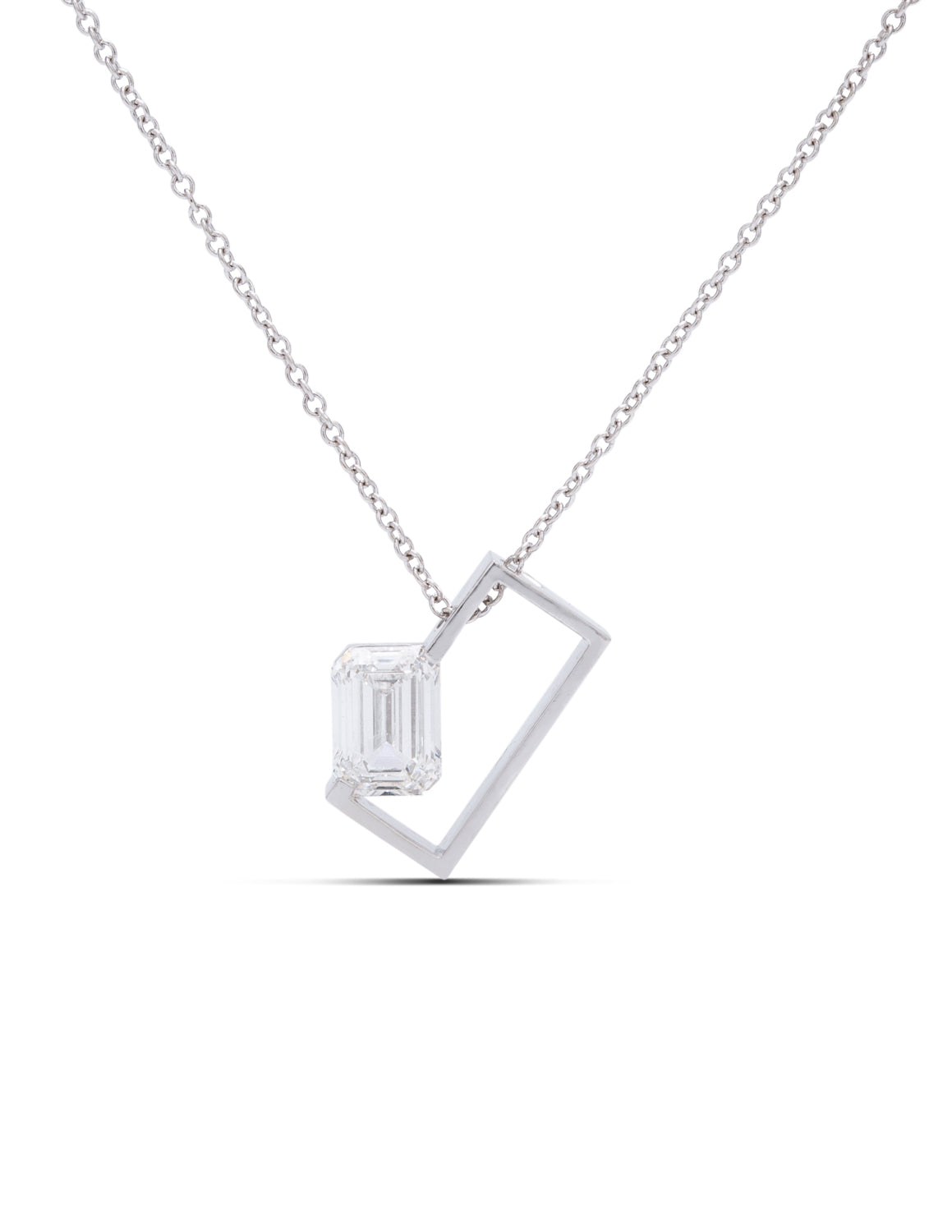 Emerald Diamond Rectangle Pendant - Charles Koll Jewellers