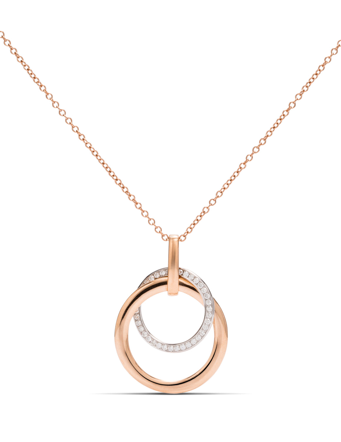 Rose Gold and Diamond Double Circle Pendant - Charles Koll Jewellers