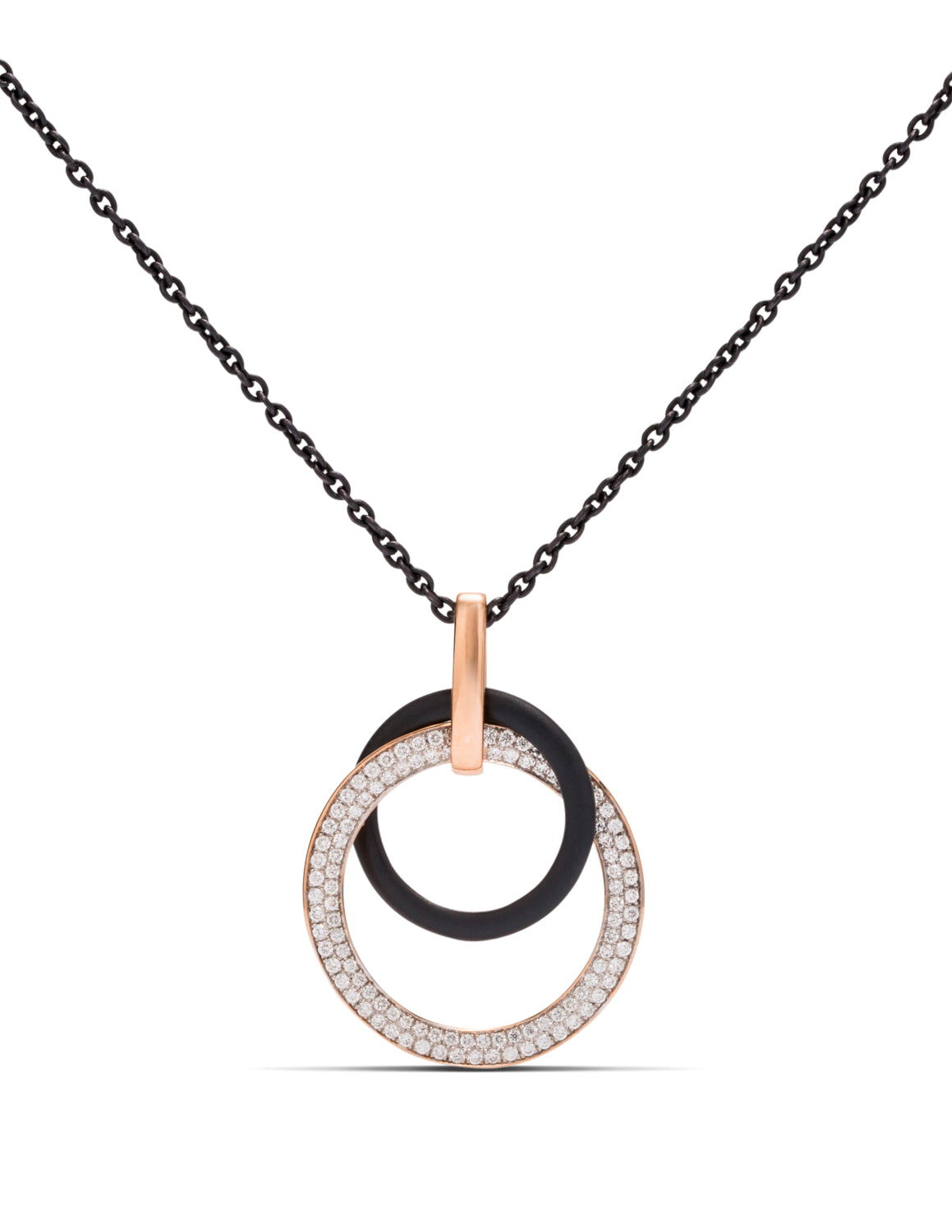 Blackened Steel and Rose Gold Circle Pendant - Charles Koll Jewellers