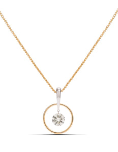 Round Brilliant Dancing Diamond Pendant in Yellow Gold - Charles Koll Jewellers