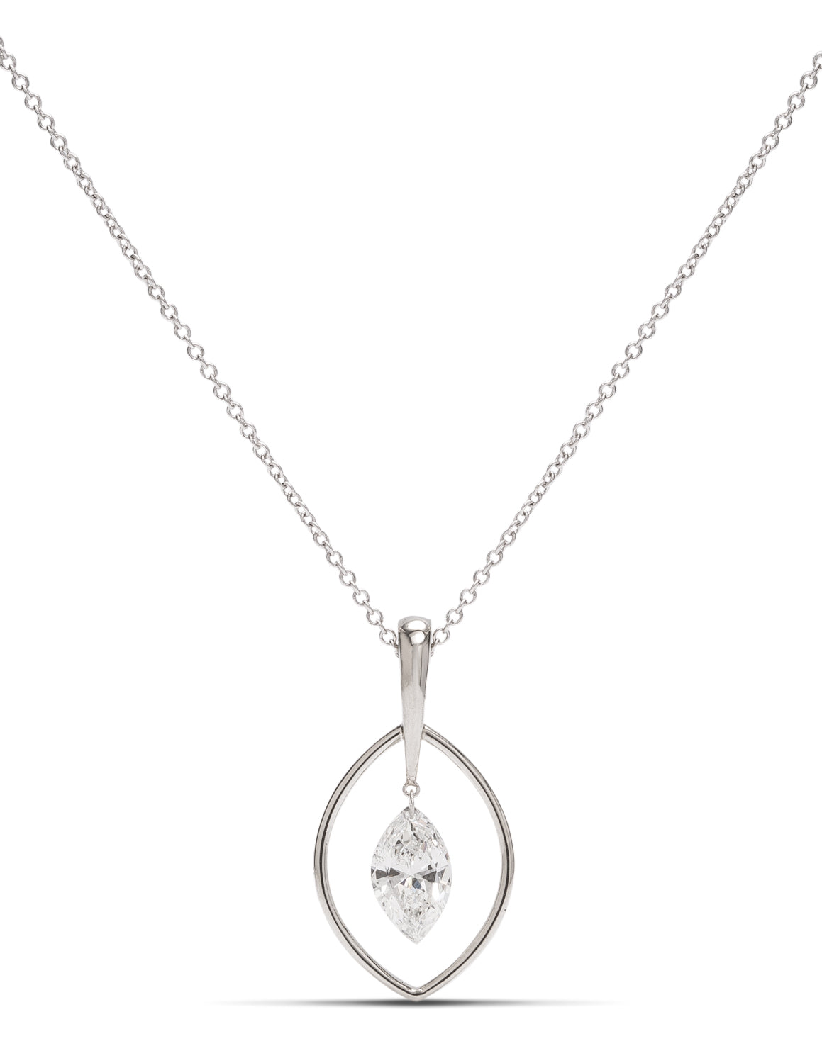 White Gold Dancing Marquis Diamond Pendant - Charles Koll Jewellers